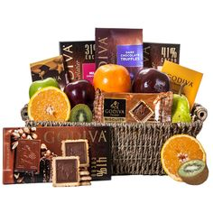 Godiva Fruit Combo Basket The Godiva Gift Basket features fresh fruits including 3 Apples. This basket continues with Godiva Milk Chocolate Covered Almonds, Chocolate Hazelnut, Chocolate Gifts, Chocolate Truffles, Gourmet Gift Baskets, Gourmet Gifts, Gourmet Candy, Fruit Gifts, Candy Gifts