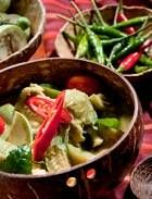 Delicious Thai Green Curry Chicken (with Vegetables, topped with fresh-cut red chili and basil)