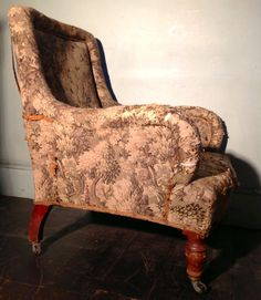 Antique 19th Century Tapestry Upholstered Armchair on Mahogany Legs from Hutchisonantiques.com