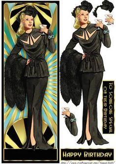 Art Deco Female Long DL Quick Card