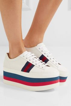Navy, red and white platform sole measures approximately 60mm/ 2.5 inches White leather Lace-up front Made in Italy