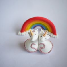 Unicorn Wedding Cake Topper With or Without Rainbow by Silverpasta
