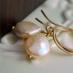 Peach Coin Pearl Earrings Genuine Freshwater by livjewellery