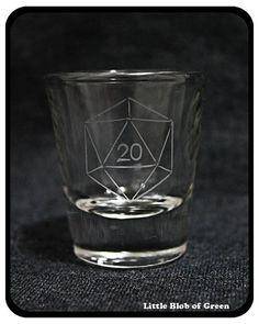 Sandblasted D20 Shot Glass by LittleBlobOfGreen on Etsy, $8.00