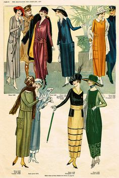 The pre-1920 silhouette was long and slim. After 1920 the hemlines went up scandalously!