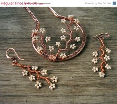 ON SALE NOW - Metal Gift Set - Copper Branches Hair Fork (4 inch) and Copper Blossoms Earrings in Cream. $36.00, via Etsy.