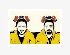 Walter White and Jesse Pinkman Poster. and poster sizes available. By Mike Moran Breaking Bad Art, Jesse Pinkman, Yellow Suit, Walter White, Cool Art Drawings, Poster Sizes, How To Draw Hands, A3, Hand Drawn
