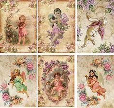 De inspiración vintage, Angel nota Tarjetas Etiquetas Atc alterado Artset De 6