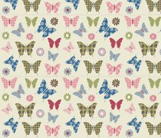 butterfly-flowers in flight light beige fabric by sadiejdesigns on Spoonflower - custom fabric