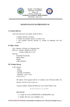 Lesson plan (inset demo) Learning Objectives, Teaching Strategies, National High School, Group Activities, Math Teacher, Problem Solving, Mathematics, Lesson Plans, Positivity
