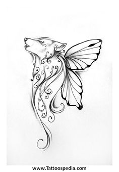 Butterfly wolf tattoo - love this! Might get this for lupus tattoo Lupus Tattoo, Atrapasueños Tattoo, Tattoo Sketch, Tattoo Wolf, Tattoo Thigh, Wrist Tattoo, Simple Wolf Tattoo, Celtic Wolf Tattoo, Werewolf Tattoo