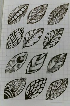 ZenTangle Variations on basic leaves