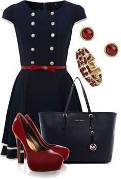 Really like the dress and the accessories. Classic color in the navy blue but with a little pop.