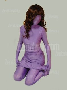 Purple Full Bodysuit Zentai With Dress Sort of liking this in a kinky way. LOL!!