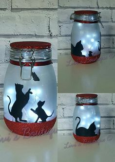 Gorgeous cat night light / fairy light Jar. These cat light jars are suitable for a variety of occasions including themed weddings/parties, birthday/Christmas gifts, bridesmaid/flower girl thank you gifts and more or simply because you're cat lover and want to use as mood
