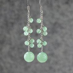 Jade long dangling chandelier Earrings handmade anni designs on Etsy, $12.95
