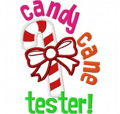 Candy Cane Tester Christmas Applique Machine Embroidery Design 4x4 and 5x7