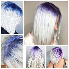 Purple and blue shadow roots hair colorful hair - Hair World White Blonde Hair, Platinum Blonde Hair, Blonde Hair With Color, Pastel Blonde, Blonde Ombre, Hair Color Purple, Cool Hair Color, Purple Ombre, Color Blue