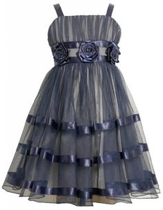 Navy-Blue Silver Rosette and Ribbon Mesh Overlay Dress NV4MH Bonnie Jean Tween Girls Special Occasion Flower Girl Holiday BNJ Social Dress, Navy Bonnie Jean,http://www.amazon.com/dp/B00G4UP8DE/ref=cm_sw_r_pi_dp_DjwAsb1X2P6ERVYC