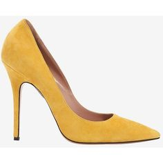 Jean-Michel Cazabat Elle Pointy Toe Suede Pump: Mustard (180 CAD) ❤ liked on Polyvore featuring shoes, pumps, heels, heel pump, pointed toe shoes, pointy toe high heel pumps, pointed toe pumps and mustard shoes