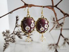 Burgundy and gold earrings. Handmade polymer by DZHandmadeProducts, $28.90