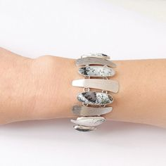 Dendritic agate bracelet in Sterling silver Bold edgy by Freesize