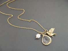 Gold Crystal Briolette with Dove and Pearl by BelleFleurJewelry, $24.00