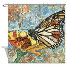 Butterfly Swirls Bathroom Shower Curtain  You will never get bored with this insect art shower curtain designed by Miriam Schulman! A yell...