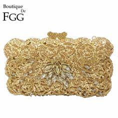 76.96$  Watch now - http://ali66y.worldwells.pw/go.php?t=32733622952 - Dazzling Famous Brand Designer Women Gold Crystal Evening Clutch Bag Bridal Metal Box Hard Case Wedding Shoulder Handbags Purses 76.96$