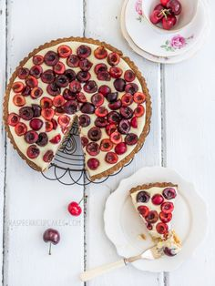 ... cherry and vanilla white chocolate tart with a brown butter shell ...