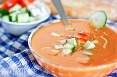 This recipe is for a traditional Andalusian gazpacho. Because of the simplicity of the dish, you will absolutely taste the difference if you use inferior products.