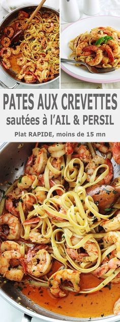 Garlic and parsley shrimp pasta, quick recipe - - Easy Smoothie Recipes, Quick Recipes, Healthy Snacks, Healthy Recipes, Cooking Recipes, Garlic Pasta, Coconut Recipes, Shrimp Pasta, Pisces