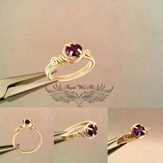 Artículos similares a Handmade wire wrapped amethyst ring en Etsy Wire Jewelry Rings, Wire Jewelry Making, Jewelry Making Tutorials, Wire Wrapped Jewelry, Metal Jewelry, Beaded Jewelry, Gold Jewelry, Jewelry Crafts, Jewelry Art