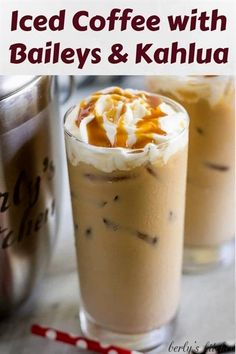 9 reviews · 20 minutes · Serves 1 · Iced Coffee with Kahlua and Bailey's is the perfect pick-me-up. It's smooth, creamy, and slightly sweet with Irish cream and coffee flavors. Iced Coffee Drinks, Coffee Drink Recipes, Alcohol Drink Recipes, Baileys Drinks, Liquor Drinks, Baileys Irish Cream Coffee, Beverages, Dessert Drinks, Coffee Coffee