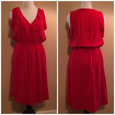 Loft silk red dress with ruffles The perfect silk red dress. You will feel very beautiful in this dress. Flatters many body types. LOFT Dresses