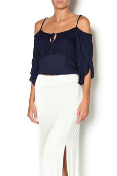 Navy blue long sleeve top with off the shoulders sleeves and a crochet tie front. Wear this top with a printed midi skirt for a feminine day look.       Kenzie Top by Lucy Love. Clothing - Tops - Long Sleeve Clothing - Tops - Blouses & Shirts Indiana