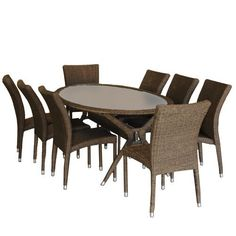 The Bari wicker oval patio dining set is a classic and beautiful patio set, perfect for entertaining guests. This outdoor seating set includes 1 patio table and 8 wicker stacking chairs. Assembly is required only for the table. Wicker Dining Set, Outdoor Dining Set, Dining Sets, Outdoor Seating, Patio Bar Set, Patio Table, Patio Dining, Patio Sets, Dining Room