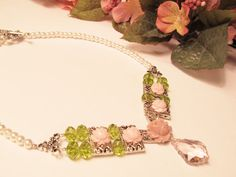 Pink Roses Spring Green Crystals and Pearls by RomanticThoughts