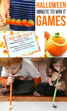 The BEST Halloween Minute To Win It Games! These minute to win it games are super fun for Halloween. They're perfect for a party, a school event or … Halloween Party Kinder, Halloween Treats For Kids, Halloween Activities For Kids, Halloween Tags, Theme Halloween, Halloween Birthday, Easy Halloween, Halloween Kid Games, Halloween Kid Party Games