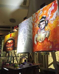 Hoje rolou a 7ª edição do Art Battle Lounge @artbattlebr  no Pullman São Paulo Vila Olímpia. Uma batalha ao vivo entre 4 artistas unindo sua arte à música em uma experiência nova e inesquecível a quem assiste. O campeão da noite foi o @jaimetrindade_arte  mas os 3 outros participantes @tollertox @juliana.m.nersessian @sayoko_h mandaram muito bem. Esse evento rola toda a última quinta-feira do mês e a entrada é franca aproveitem   #saopaulocity #artbattlebr #artbattlepullman