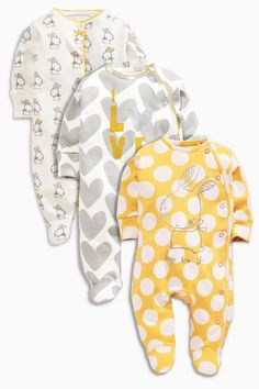 Kaufen Sie Three Pack Ochre Bunny Sleepsuits Jahre) heute online bei Next: … – For Babies, shorts, shoes, pants, fashion dress and much Kids Clothes Uk, Cute Baby Clothes, Next Baby Girl Clothes, Kids Clothing, Baby Outfits, Kids Outfits, Baby Girl Fashion, Kids Fashion, Style Fashion