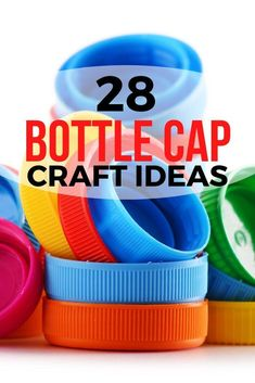 Do you have a million bottle caps lying around waiting to be used? Check out these 28 art and crafts projects. Learn how to make wall art and other creative home decor ideas made with plastic and metal caps. Plastic Bottle Tops, Reuse Plastic Bottles, Plastic Bottle Crafts, Plastic Caps, Diy Bottle Cap Crafts, Bottle Cap Projects, Bottle Cap Art, Arts And Crafts Projects, Diy Crafts