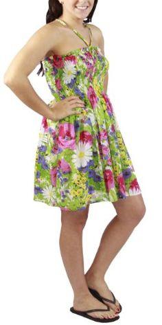 Green Spring Flower One-size-fits-all Lined Ruffled Tube Dress - Alki'i Dress Picks