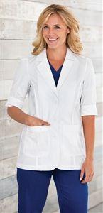 "Barco Uniforms Women's Short Sleeve Lab Coat 4414 $30.00 28"" SHORT SLEEVE LAB W/ PRINCESS SEAMS & BACK BELT. JUNIOR FIT.    65% POLY/35% COT POPLIN #scrubs #scrubcouture #nurses #doctors #barco"