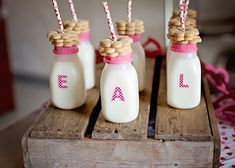 Cute milk bottles with cookies! American Girl Doll Cupcake Baking birthday party via Kara's Party Ideas KarasPartyIdeas.com   Printables, favors, cakes, games, and more!