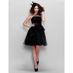 Homecoming Cocktail Party Dress - Black A-line/Princess One Shoulder Knee-length Tulle – USD $ 79.99