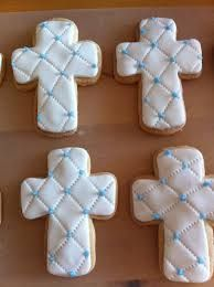 galletas decoradas para bautizo - Google Search Boy Baptism, Christening, Easter Cookies, Sugar Cookies, Cross Cookies, Foundant, Cookie Frosting, Dessert Decoration, Easter Holidays