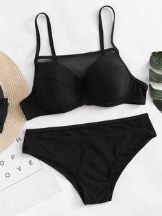 Contrast Mesh Bikini Set -SheIn(Sheinside)