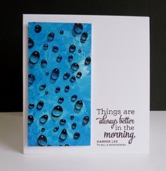 To make this Harriet style card involved lots of mess on a craft mat - as my blue fingers will testify!! I cased this lovely card http://www.splitcoaststampers.com/gallery/photo/2442932?&cat=500&ppuser=18530 and used a Water Droplet stamp and put my sentiment to the side.