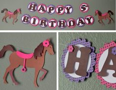 Pony Birthday Supplies,  Horse Birthday Party Supplies - Banner 2-D - CUSTOM Message (20 letters)